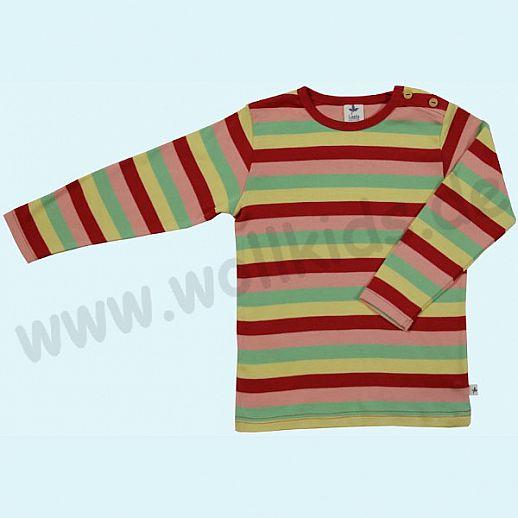 BIO BAUMWOLLE Leela Cotton Langarm Pulli Shirt kbA BW Streifen aprikose mint zitrone rot