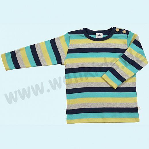 BIO BAUMWOLLE Leela Cotton Langarm Pulli Shirt kbA BW Streifen türkis zitrone navy beige