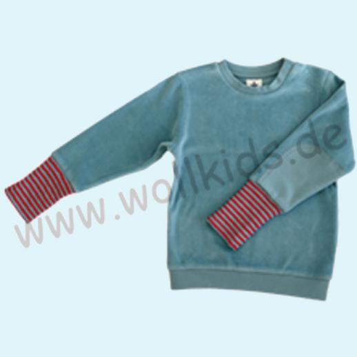 LEELA COTTON: BIO Baumwolle Pullover Nicky Pulli taubenblau NEU