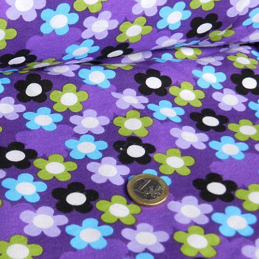 Rest 62cm - Jersey - Stretch-Jersey - Baumwolle - lila mit Bumen & Blüten - TRAUMHAFT