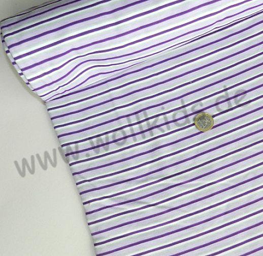 Interlock - lila mit hellgrauen Streifen Ringel - Baumwolle - wunderschön