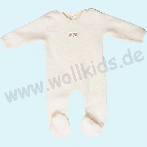 LILANO Wagenanzug Wollfrottee Plüsch - Overall mit Beinen, Armen & Fuß natur