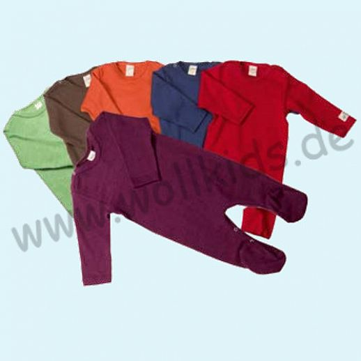 Lilano Baby Body Longjohn Wolle Seide - viele Farben: marine, rot, beere, grün, grau
