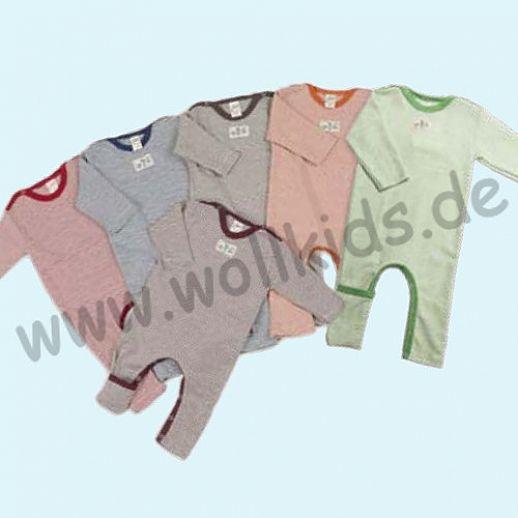 LILANO: neu auch in hellgrau - Baby Body Overall Wolle Seide Ringel ohne Fuß