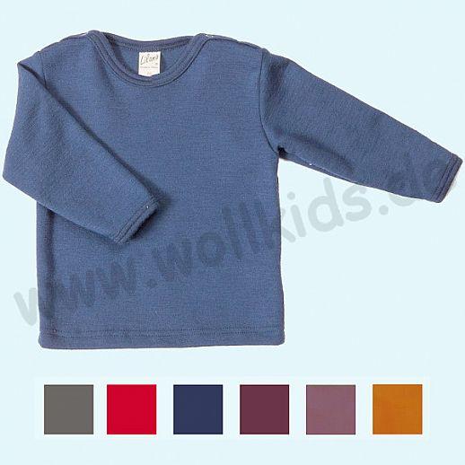 LILANO: Wunderschönes Baby Kinder Shirt mit Schulterknöpfen Wolle Seide UNI