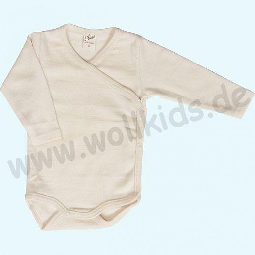 Lilano - Wickelbody - Babybody - Wolle-Seide natur - extra kuschelig & warm