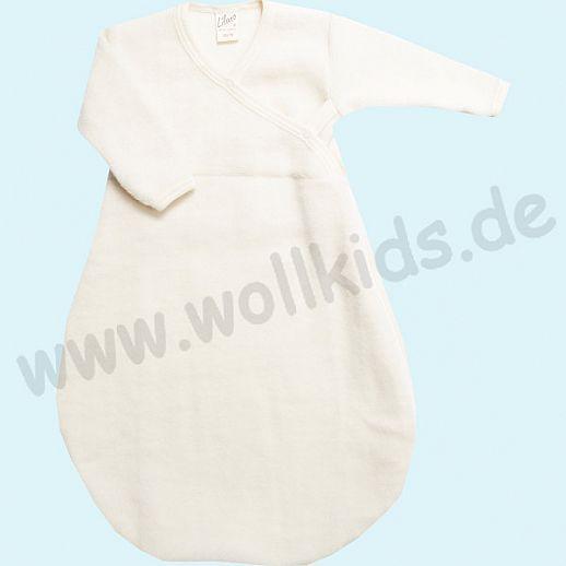 LILANO - Schurwollfrotte Plüsch Wickelsack - Schlafsack mit Ärmeln - Langarm - Wollfrottee - natur