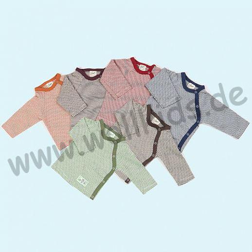Lilano - Baby Shirt - Wickelshirt - Wickelhemd - Wickelpulli - Wolle-Seide Ringel