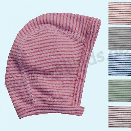LILANO - Häubchen - Mütze - Erstlingsmütze - Wolle Seide Ringel - extra weich und warm