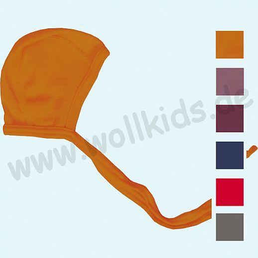 LILANO - Häubchen - Mütze - Erstlingsmütze - Wolle Seide uni - extra weich und warm