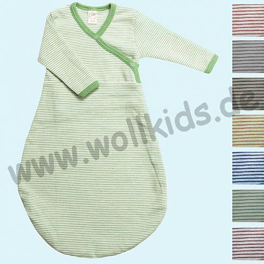 LILANO - Wickelsäckchen - Schlafsack mit Ärmeln - Langarm - Wolle Seide Jersey Ringel