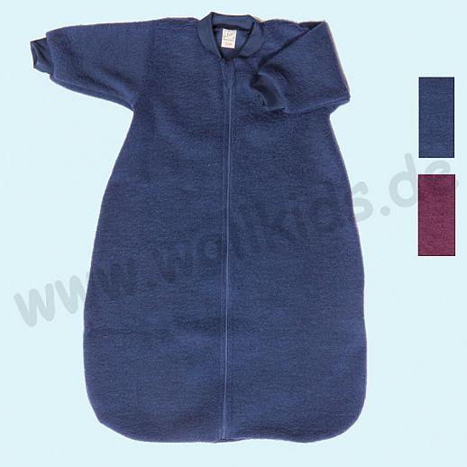 LILANO - Schurwollfrotte Plüsch Schlafsack - Schlafsack mit Ärmeln - Langarm - Wollfrottee - Plüsch