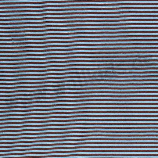 Wundervoller BIO Baumwoll - Bündchen Stoff hellblau schoko Ringel - griffig & besonders weich zugleich