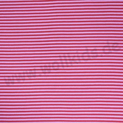 Wundervoller BIO Baumwoll - Bündchen Stoff rosa himbeer Ringel - griffig & besonders weich zugleich