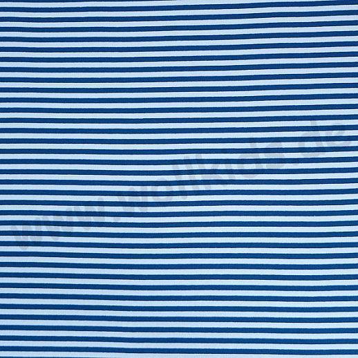 Wundervoller BIO Baumwoll - Bündchen Stoff blau weiß Ringel - griffig & besonders weich zugleich