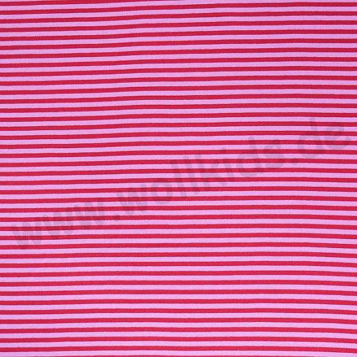 Wundervoller BIO Baumwoll - Bündchen Stoff rosa rot Ringel - griffig & besonders weich zugleich