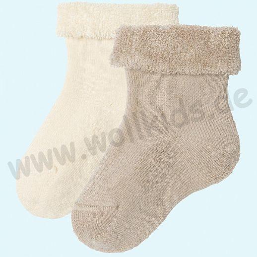 Livingcrafts 2 Paar wunderschöne Baby Plüschsocken BIO Baumwolle GOTS natur taupe -  weich & warm
