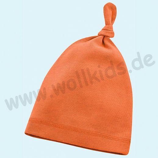 NEU: Baby Mütze - Beanie - super kuschelig orange - BIO Baumwolle zum Body Set