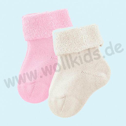 Livingcrafts 2 Paar wunderschöne Baby Plüschsocken BIO Baumwolle GOTS natur rose -  weich & warm