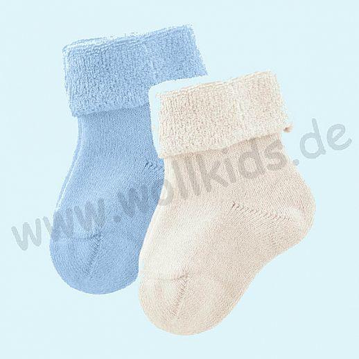 Livingcrafts 2 Paar wunderschöne Baby Plüschsocken BIO Baumwolle GOTS natur hellblau -  weich & warm