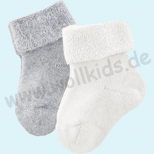 Livingcrafts 2 Paar wunderschöne Baby Plüschsocken BIO Baumwolle GOTS offwhite grau -  weich & warm
