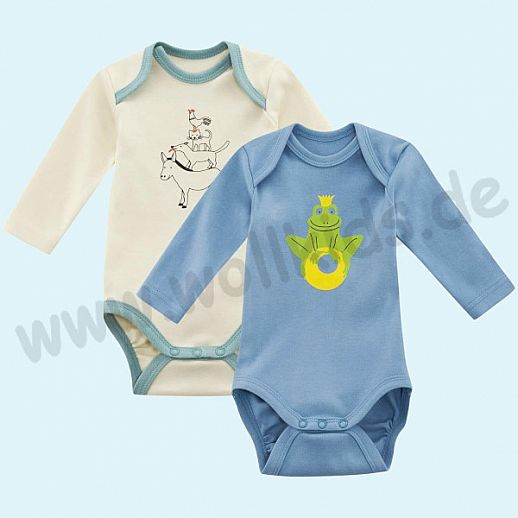 NEU: 2er Set Babybody Body - Langarm - BIO Baumwolle eisblau und natur bleu