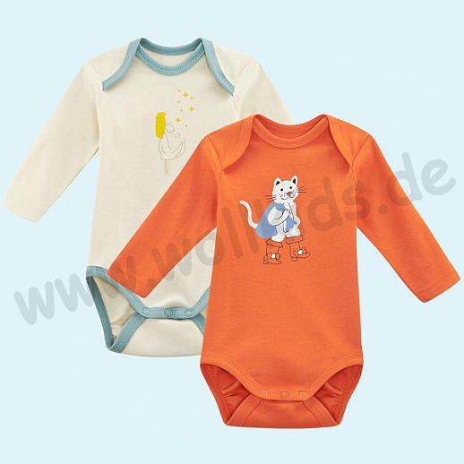 NEU: 2er Set Babybody Body - Langarm - BIO Baumwolle orange und natur bleu