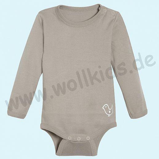 NEU: Babybody Body - Langarm taupe - BIO Baumwolle mit Schulterverschluß