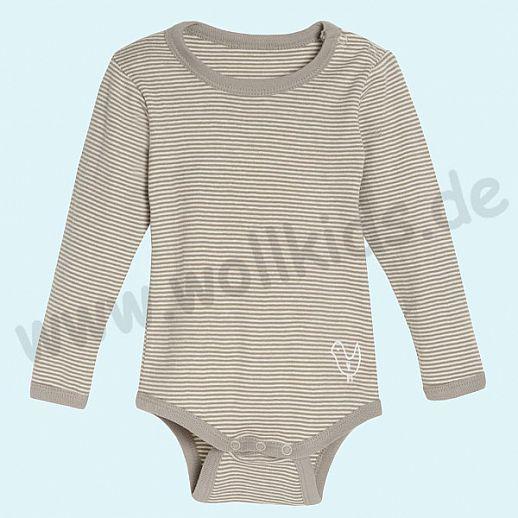 NEU: Babybody Body - Langarm taupe natur - BIO Baumwolle mit Schulterverschluß