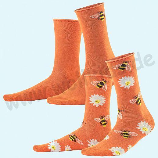 Livingcrafts Damen Socke - Doppelpack - BIO Baumwolle - fröhliche Sommersocke -rot Blumen & Bienen