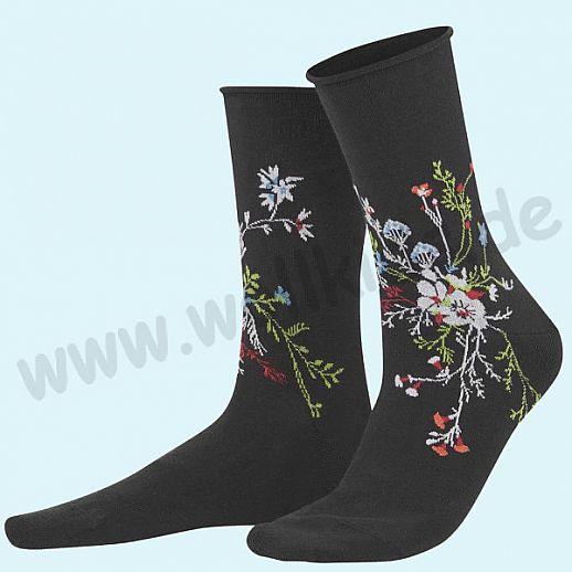 Livingcrafts Damen Socke - schwarz mit Blumen - BIO Baumwolle - bezaubernd schön und kuschelig weich