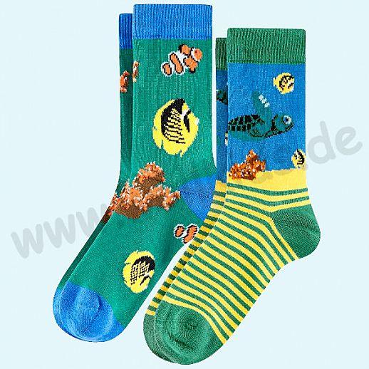 Livingcrafts 2 Paar wunderschöne Kinder-Socken kbA Baumwolle BIO GOTS Schildkröte Fische