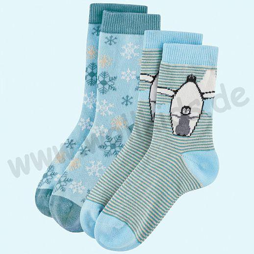 Livingcrafts 2 Paar wunderschöne Kinder-Socken kbA Baumwolle BIO GOTS Pinguin und Eiskristalle