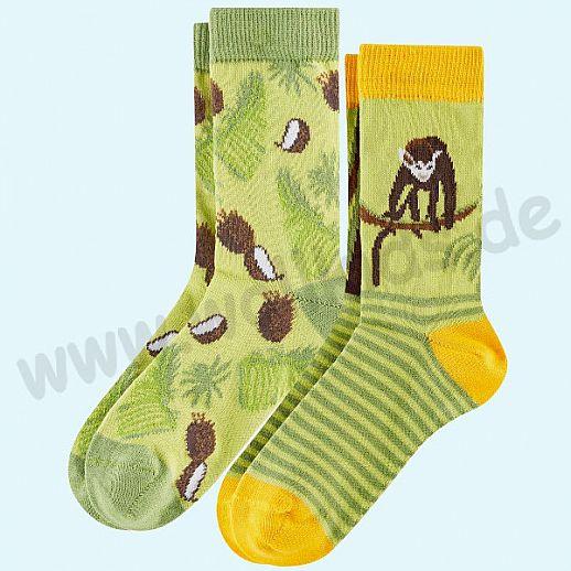 Livingcrafts 2 Paar wunderschöne Kinder-Socken kbA Baumwolle BIO GOTS Affe