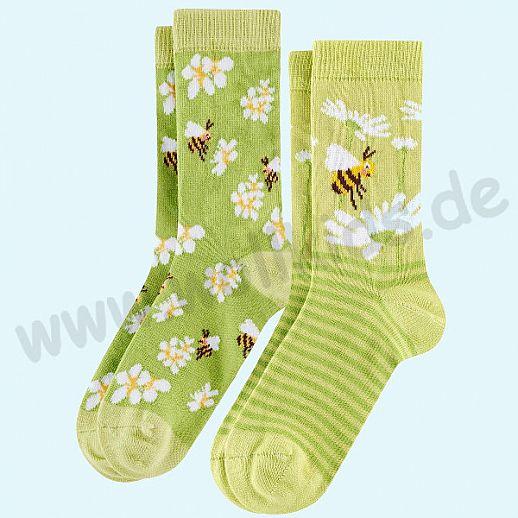 Livingcrafts 2 Paar wunderschöne Kinder-Socken kbA Baumwolle BIO GOTS Biene