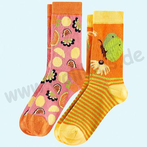 Livingcrafts 2 Paar wunderschöne Kinder-Socken kbA Baumwolle BIO GOTS Schmetterling