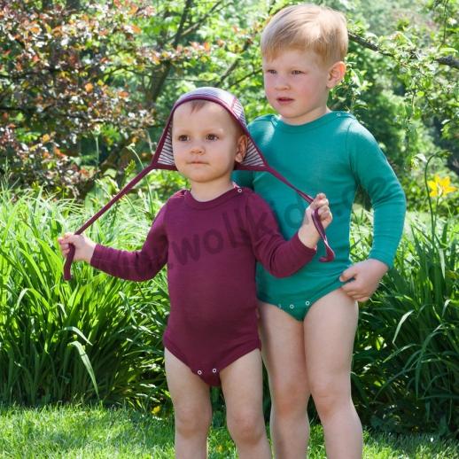 Engel Baby Body Wolle Seide kbT BIO Organic orchidee mit Druckknöpfen auf der Schulter