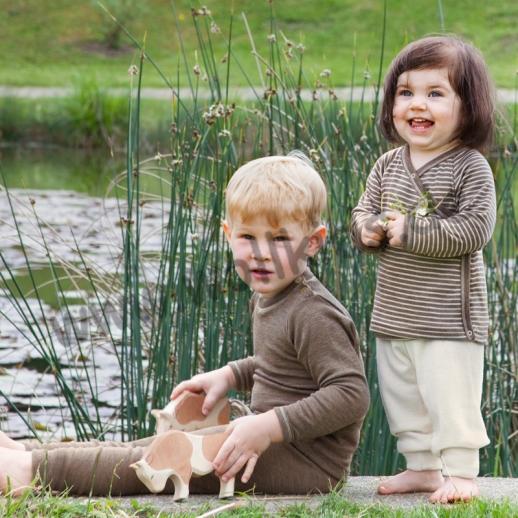 NEU: Engel Babyshirt Stehkragen Wolle Seide BIO GOTS walnuß