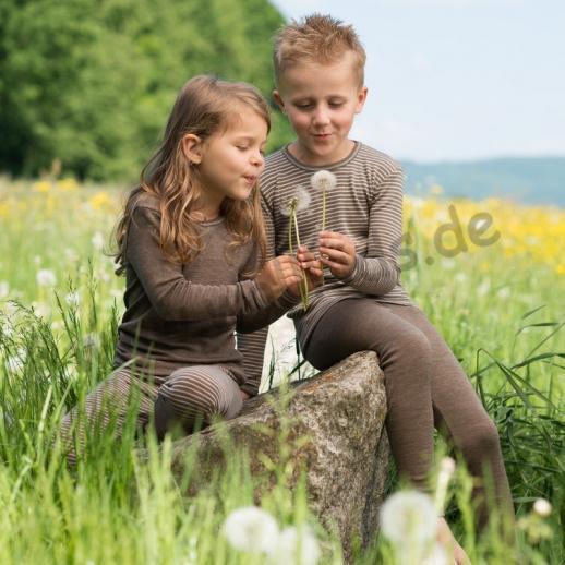 NEU: Engel Kinderleggin - lange Unterhose Wolle/Seide walnuß natur Ringel