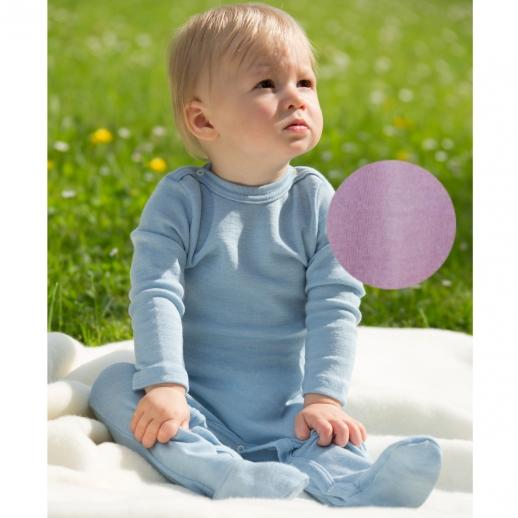 Engel Schlafanzug Ganzkörperbody Longjohn Wolle Seide FLIEDER oder BLEU