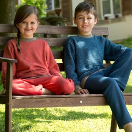 NEU: Engel Schurwollfrottee Pullover blau kbT Merino-Wolle Schlafanzug Pulli