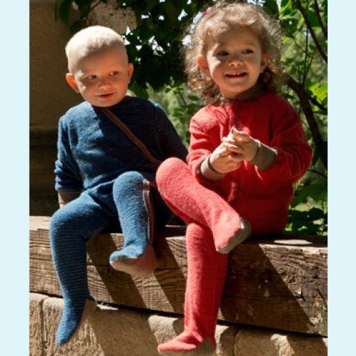 NEU: Engel Schurwollfrottee Schlafanzug Schlafi blau kbT Merino-Wolle Einteiler