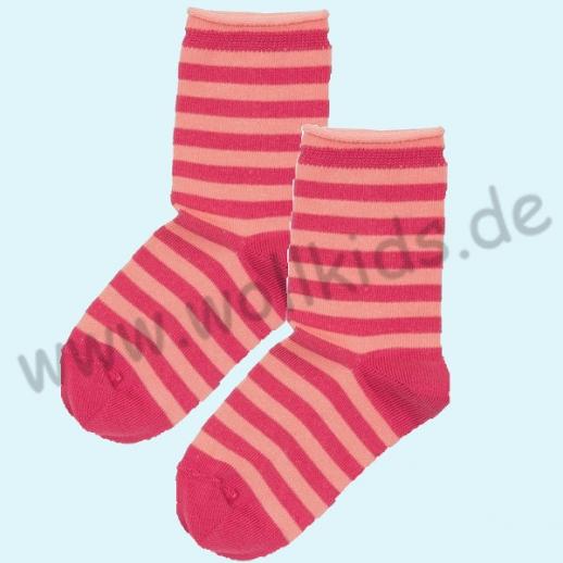 NEU: Grödo Natur - BIO-Baumwolle Kinder-Socken Ringel kbA BW himbeer Organic GOTS