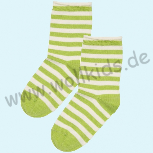 NEU: Grödo Natur - BIO-Baumwolle Kinder-Socken Ringel kbA BW kiwi Organic GOTS