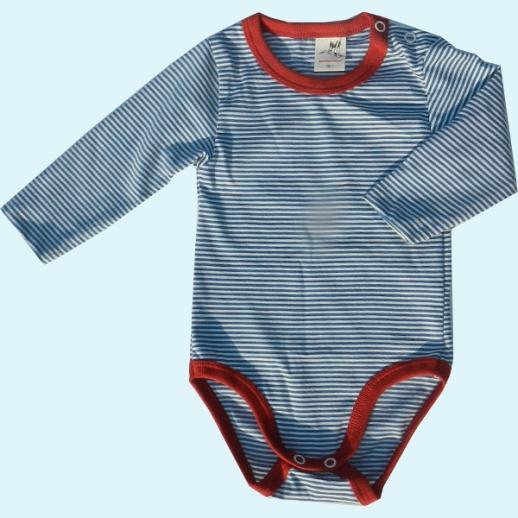 NEU: Storchenkinder Babybody Body - unisex - blau Ringel - BIO Baumwolle