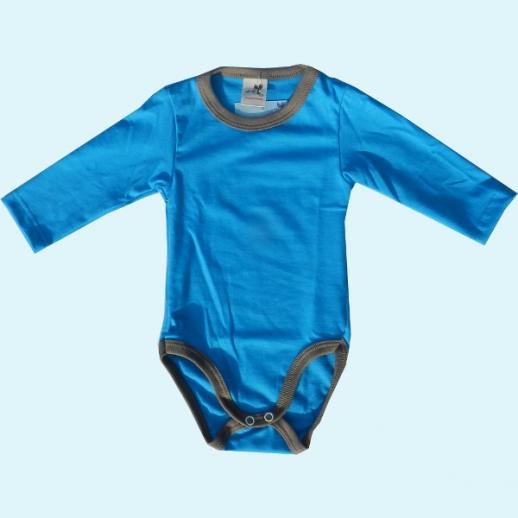 NEU: Storchenkinder Babybody Body - unisex - blau türkis - BIO Baumwolle