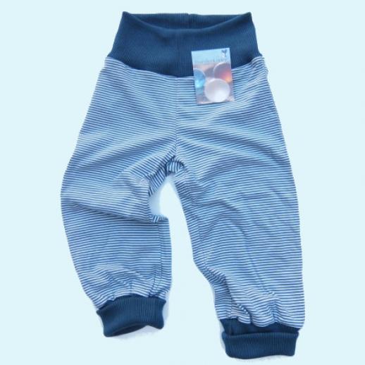 NEU: Storchenkinder Babyhose Hose Nabelbund - unisex - blau Ringel - BIO Baumwolle