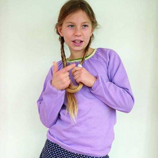 NEU: Storchenkinder Raglan Bluse Lavendel, Lila, Flieder BIO BAUMWOLLE