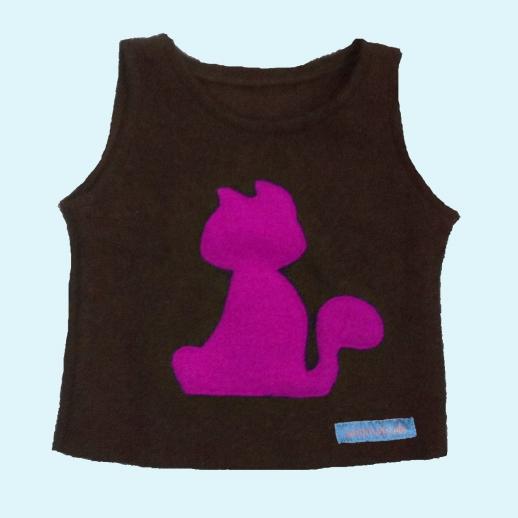 NEU: Wollwalk Schlupfweste Schoko mit Katze