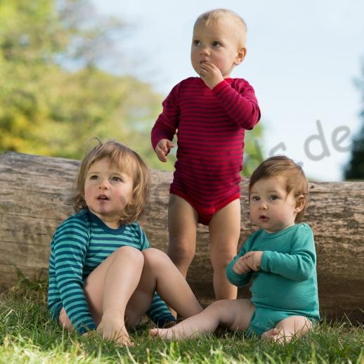 Engel Baby Body Wolle Seide kbT BIO Organic waschbar blau türkis Ringel